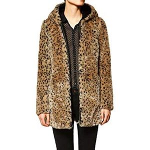 Zara faux fur hooded leopard fur coat long zipped